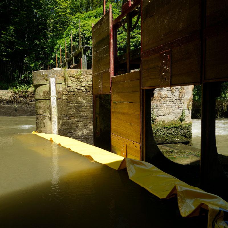 Herstel van het ziften van de Moulin de Pidou 15e eeuw | Rivière Aa - Flexibele Water-Gate © Cofferdam WA-2850