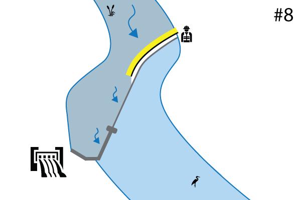 Flexibele bouwkuipen Water-Gate©. Schema van een installatie op een rivierdrempel | Overlaat. Geval # 7