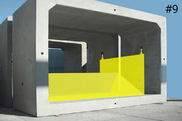 Flexibele Water-Gate © kofferdammen. Schema van een installatie in een betonnen duiker | Zaak # 9
