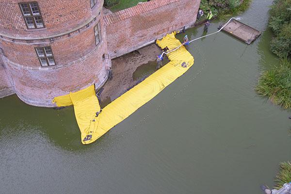 U-vormige bouwkuip - Kasteel Frederiksbord - Einde pompen