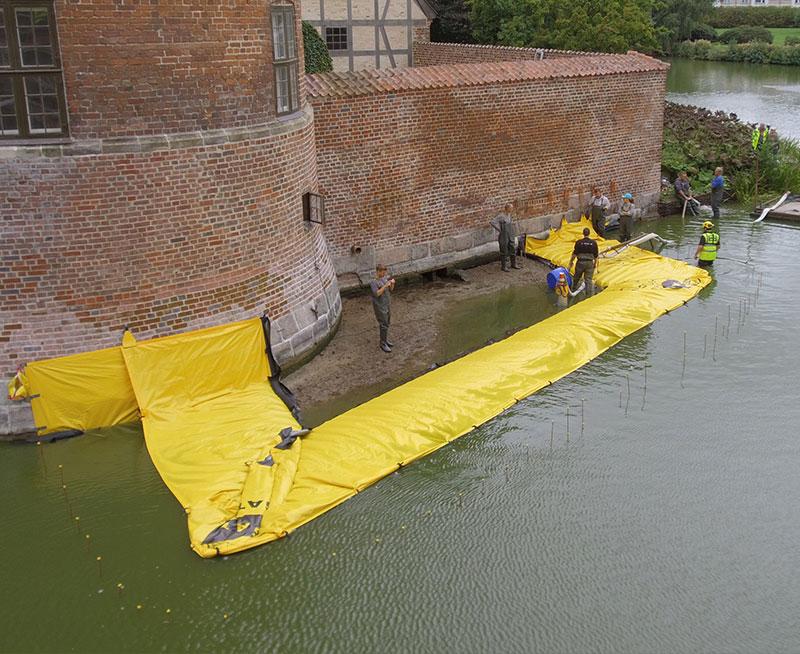 U-vormige bouwkuip - Frederiksbord Castle - Afwatering van de bouwplaats - Gracht - Eerste kanaal